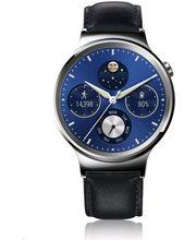 Huawei Watch W1 stříbrné, černý kožený řemínek