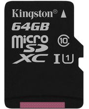 Kingston microSDXC 64GB Class 10/UHS-I, zápis 10MB/s + SD adaptér