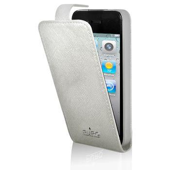 PURO kožené pouzdro iPhone 4/4S s vertikálním flipem - bílá ...